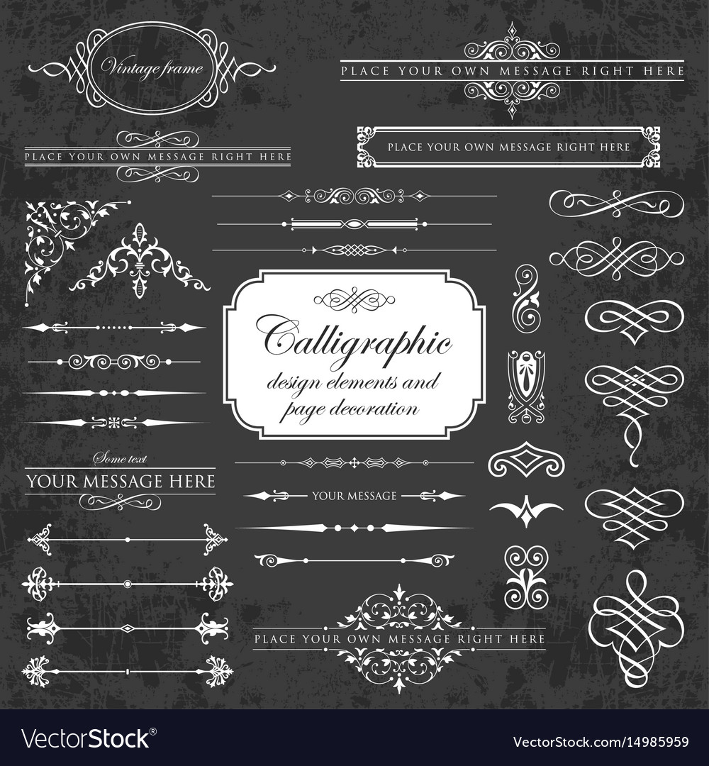 Calligraphic design elements on chalkboard
