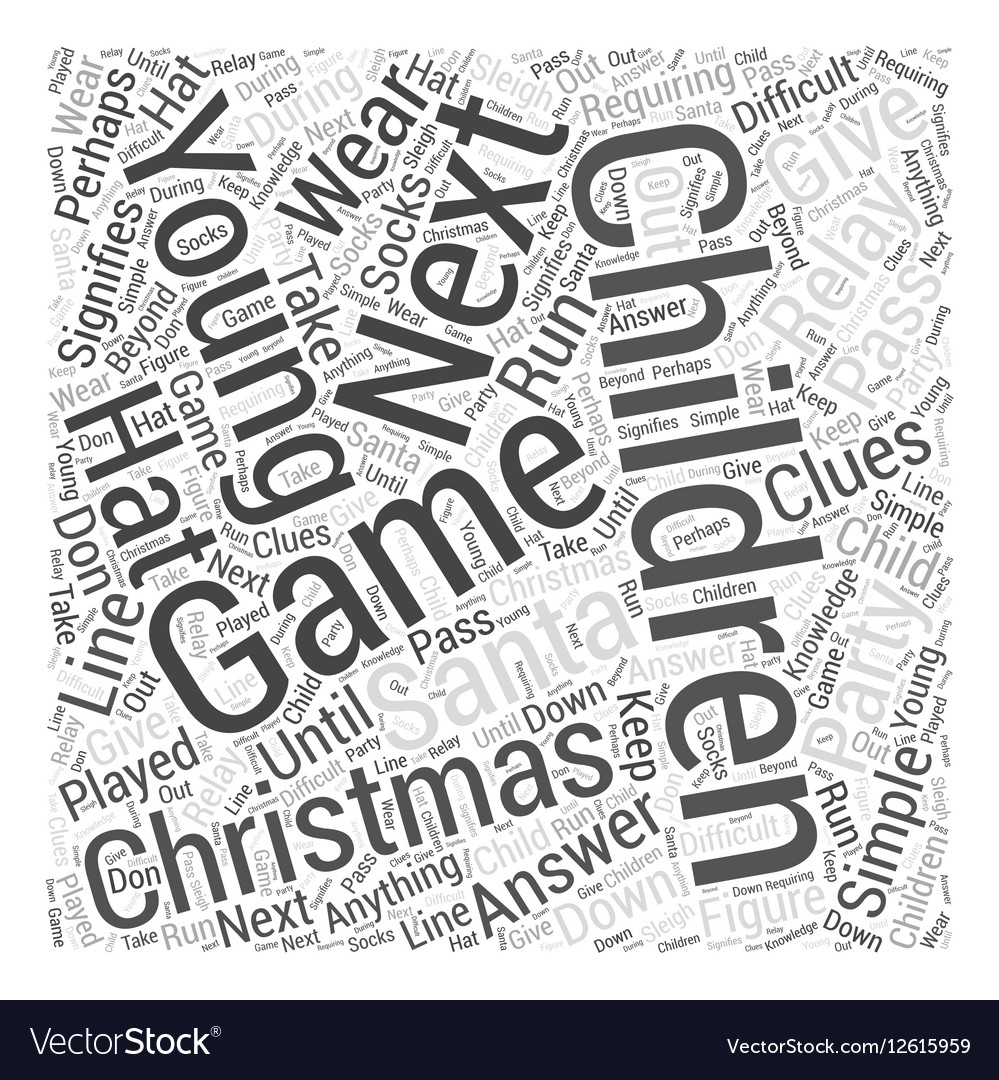 christmas party games young children word cloud vector image