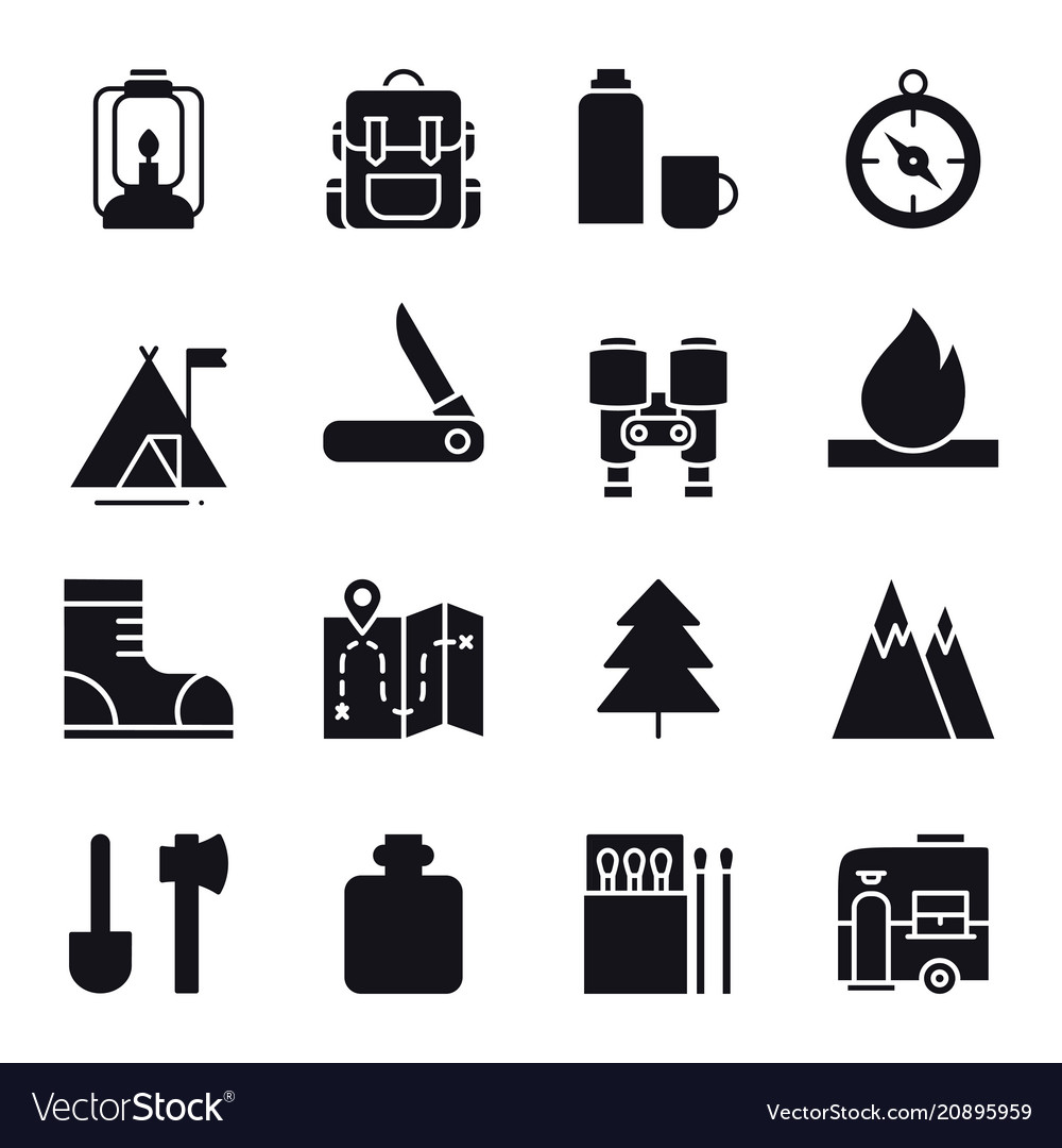 Hiking and camping icons set outdoor camp sign