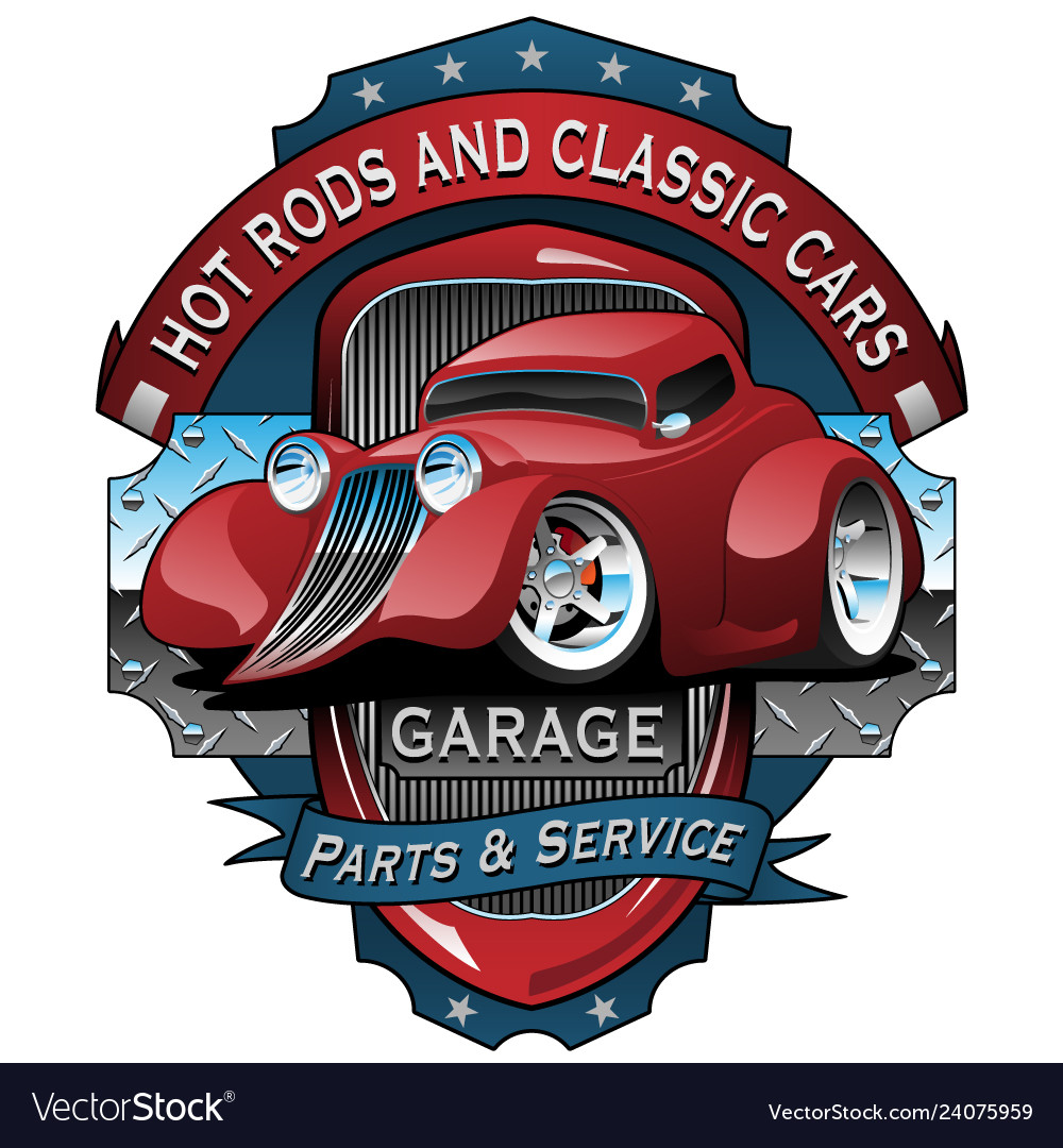 Hot rods and classic cars garage vintage sign