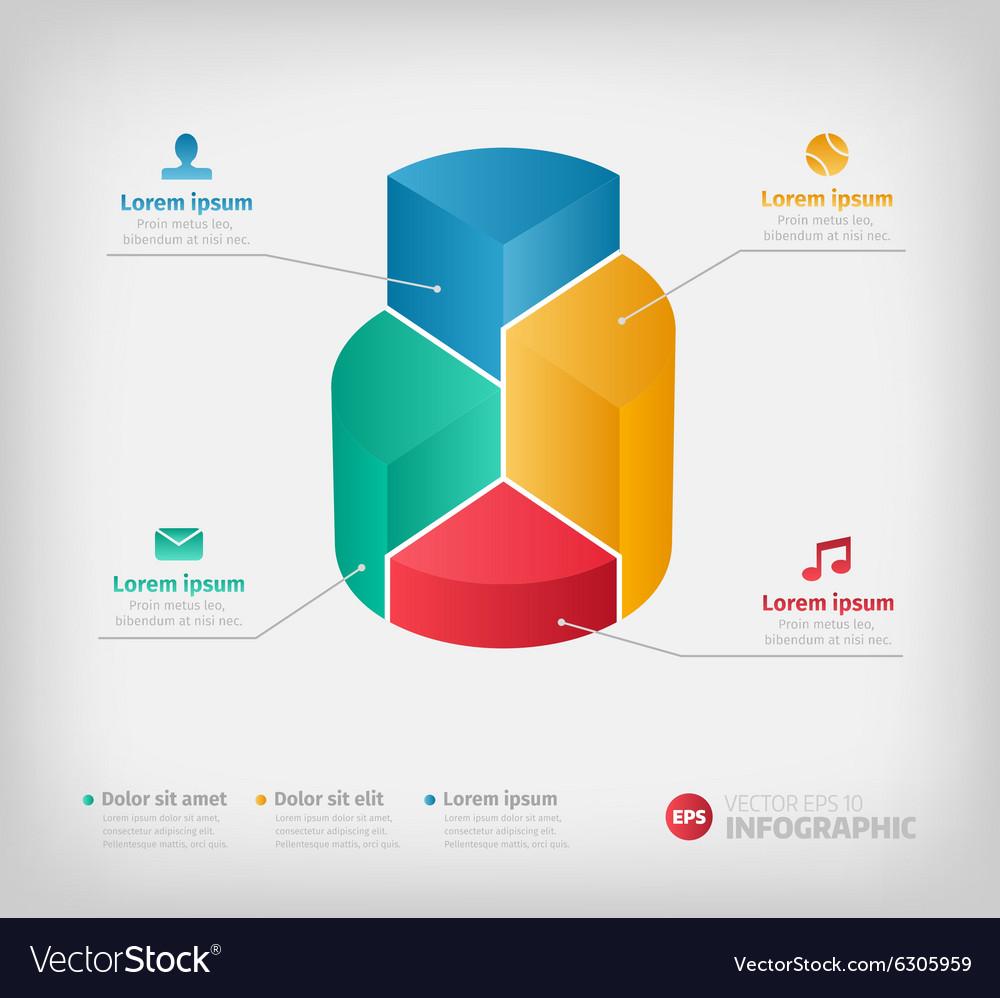 Modern 3d graph for web presentation or brochures