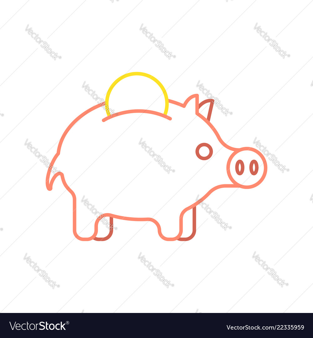 Pig piggy bank and coin linear style financial