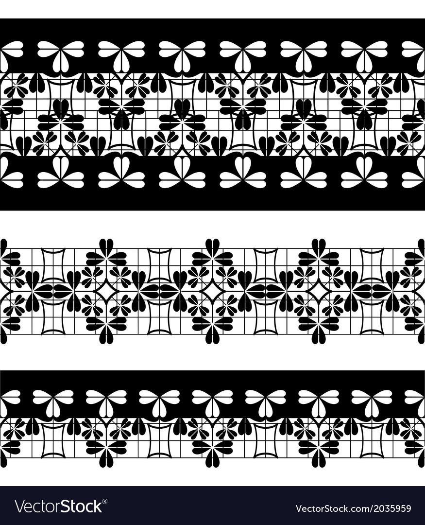 Set of black lace borders isolated on white