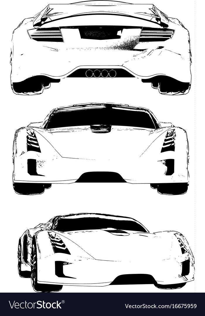 Set of images of a conceptual sports car