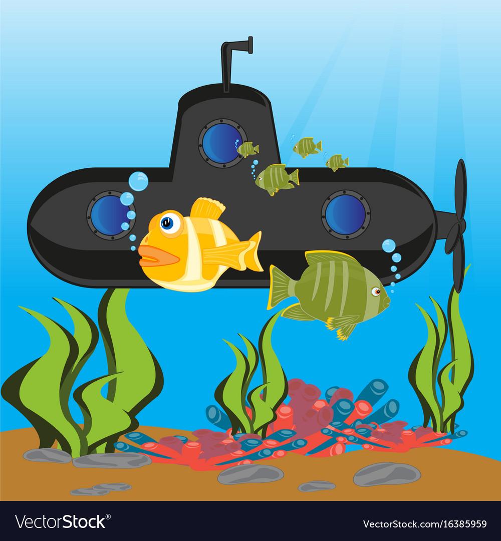 Submarine at the depth ocean