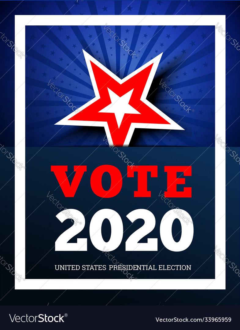 Vote 2020 in usa background with star