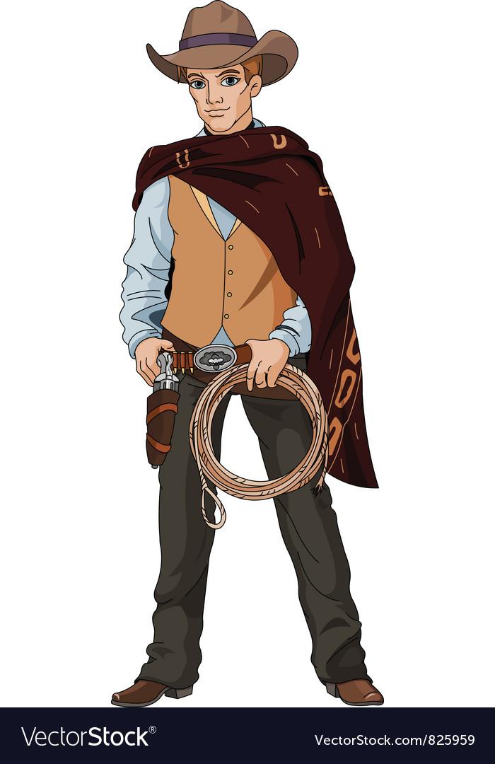 Young cowboy vector image