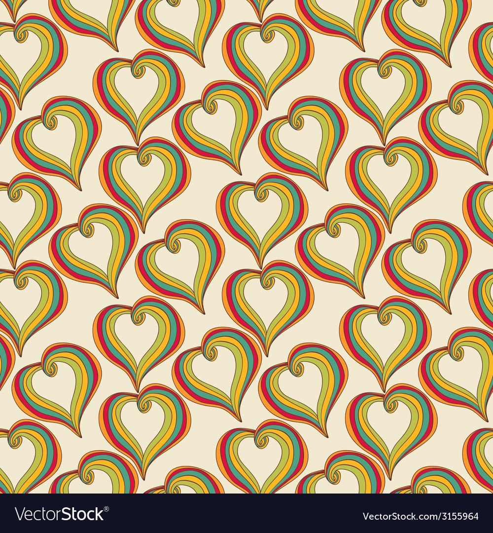 Abstract colorful Hearts on a beige background