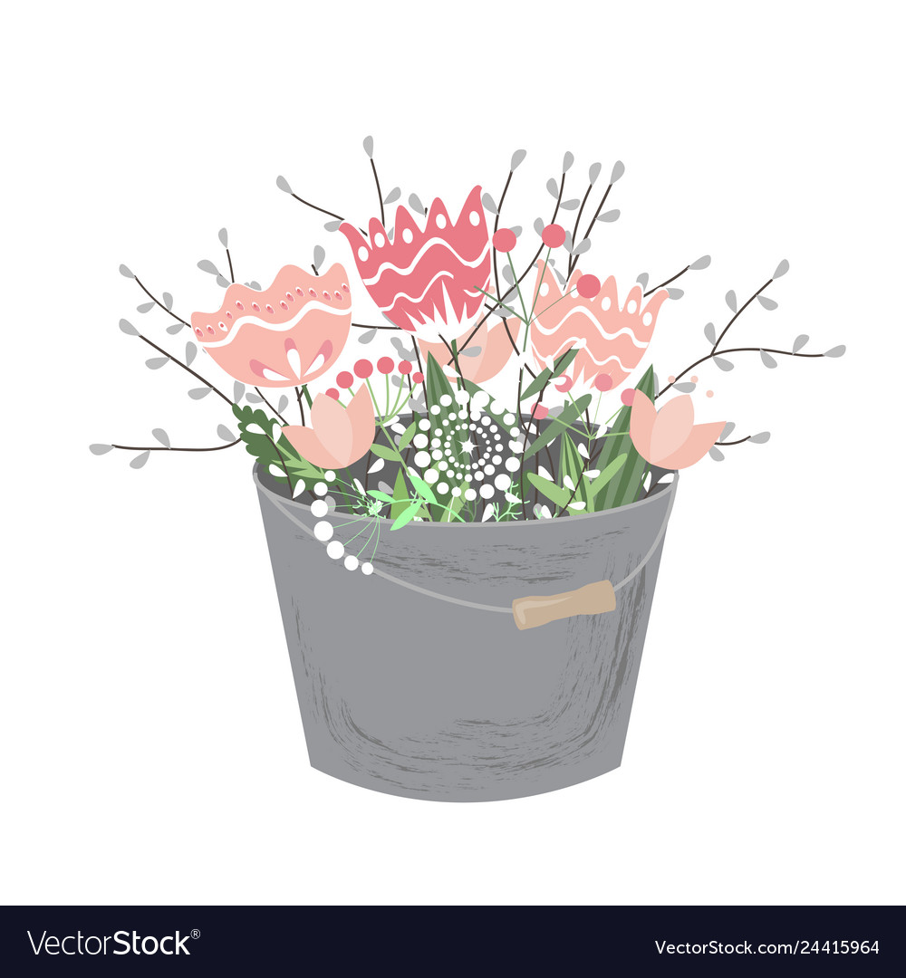 Bouquet spring flowers in bucket isolated on