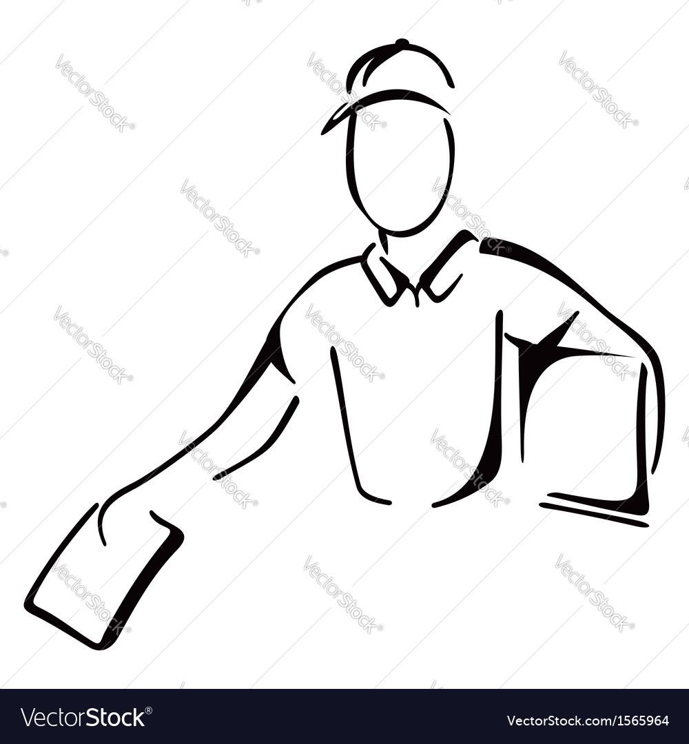 Delivery on sketch vector image