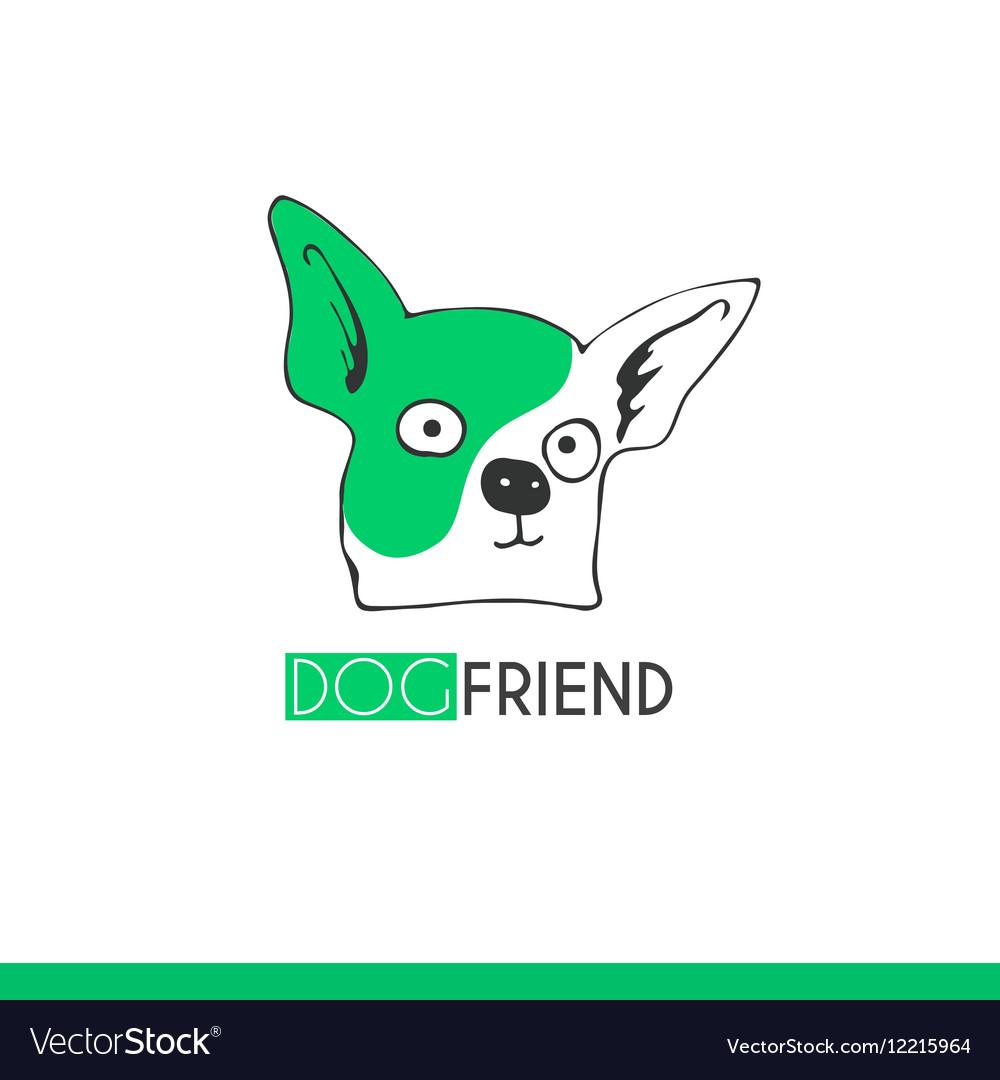 Logo funny cartoon dog friend suitable vector image