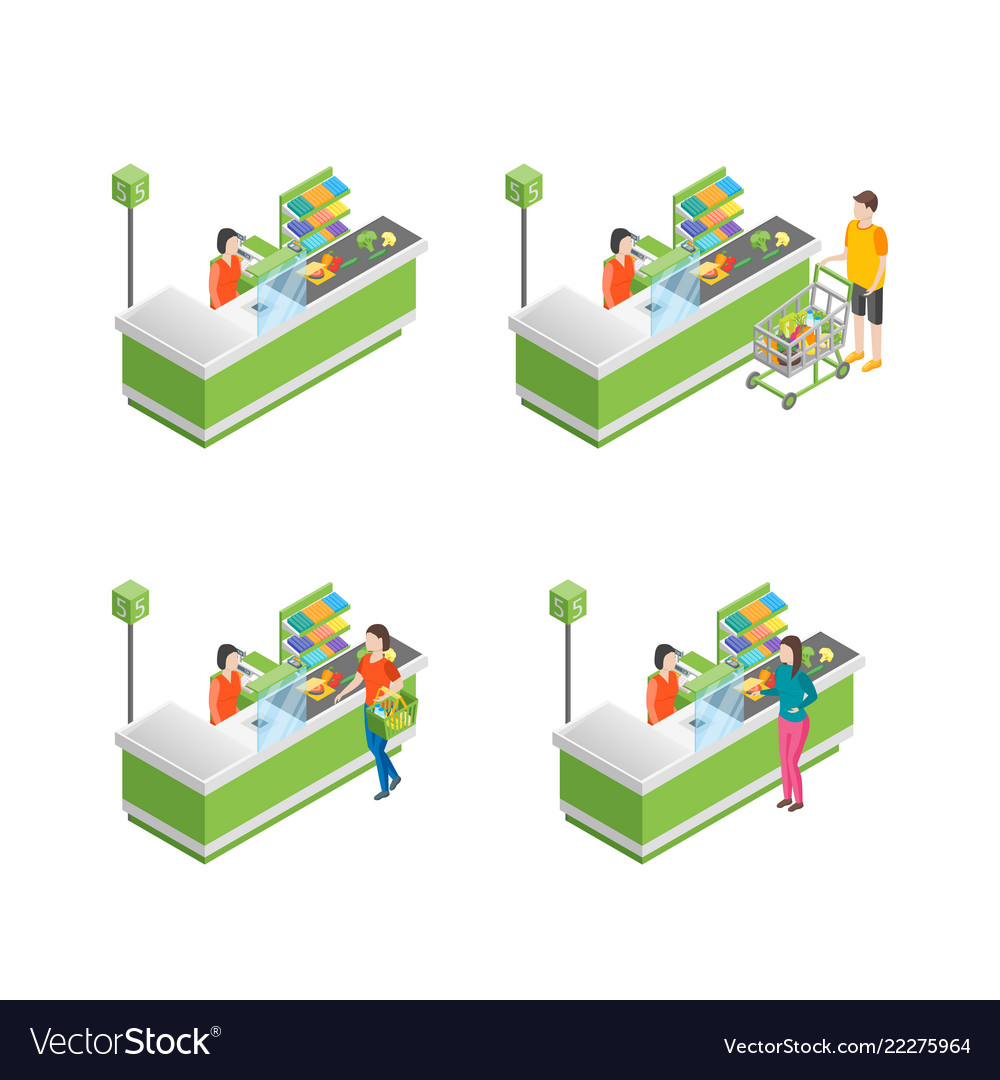 Pay in store set 3d isometric view
