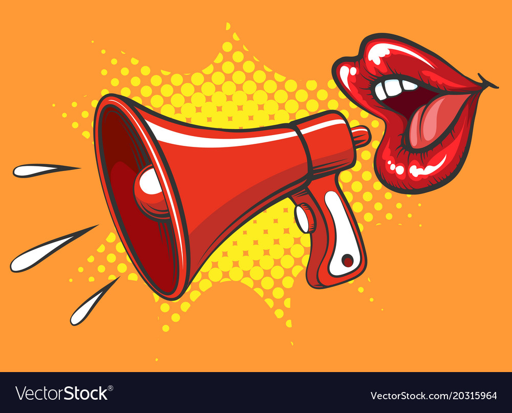 Retro megaphone and women mouth