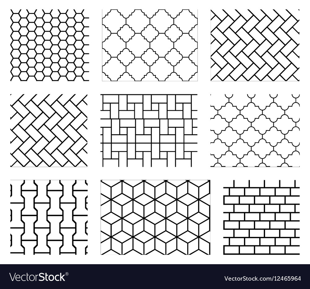 Set of tile seamless patterns in black and