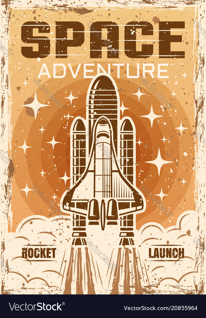Space shuttle flight up colored vintage poster