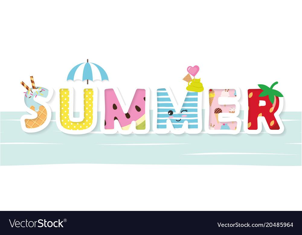Summer cartoon decorative letters