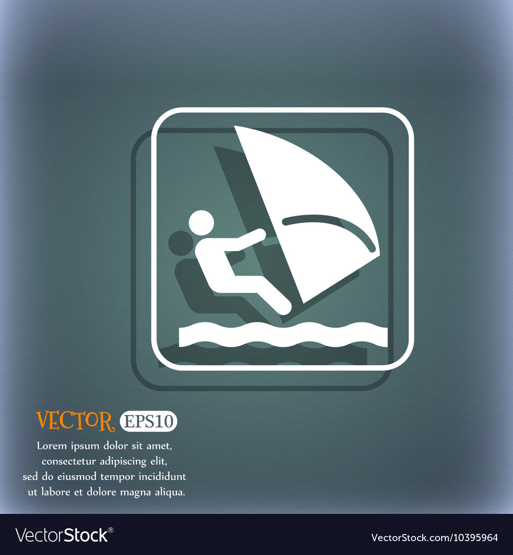 Windsurfing icon On the blue-green abstract vector image