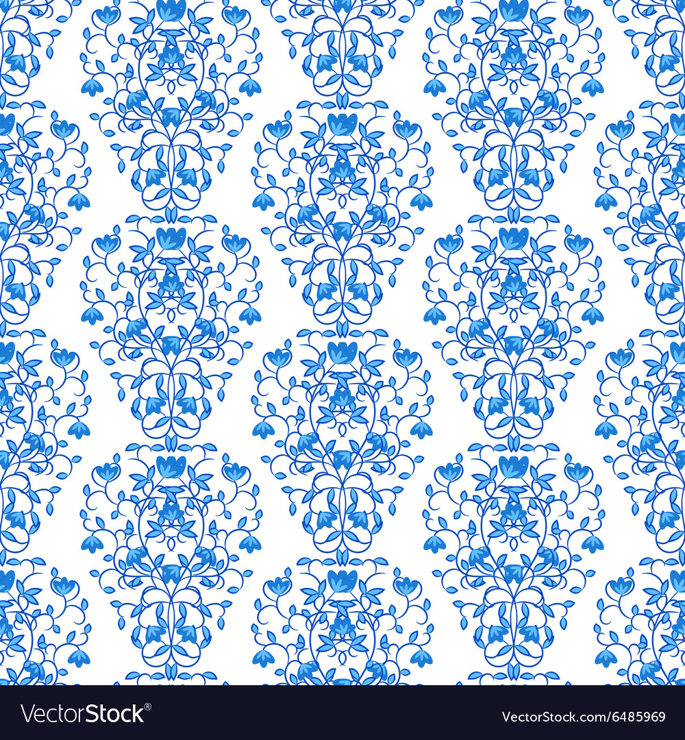 Blue floral elegant border in damask retro style