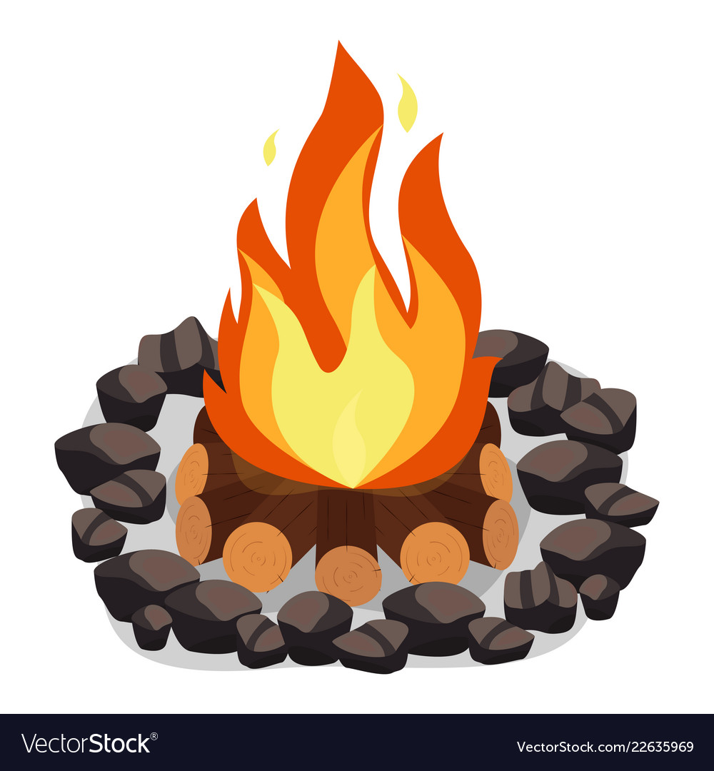 Bonfire burning woodpile and round of stones