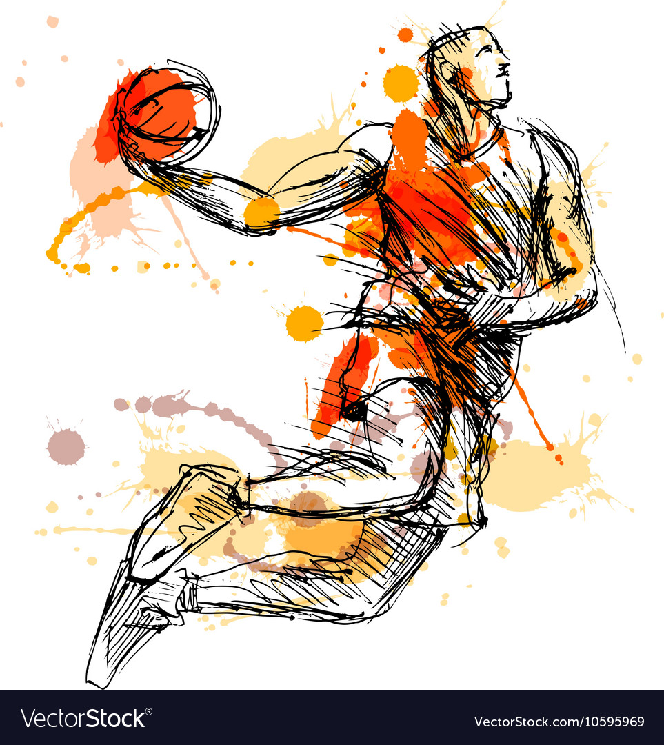 Colored hand sketch basketball player