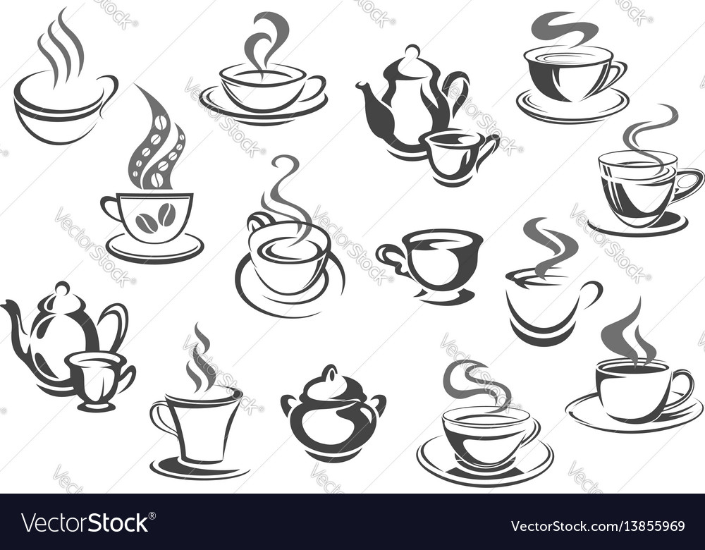 Cup of coffee and tea teapot sugar bowl icon set