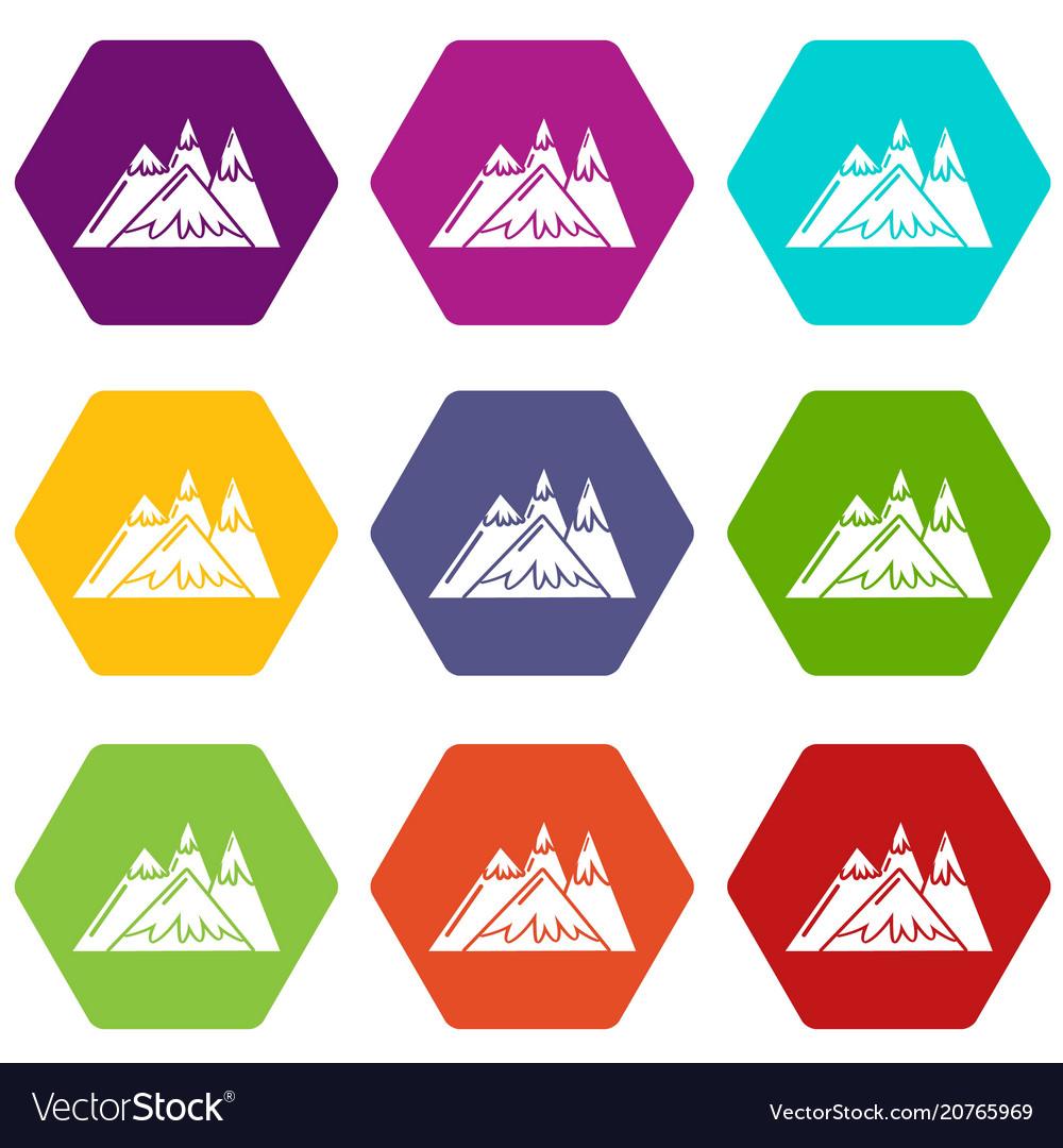 Mountains icons set 9