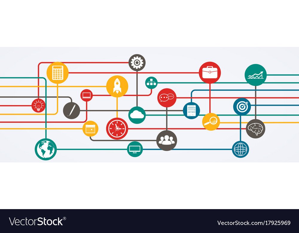 Network connections information flow with icons