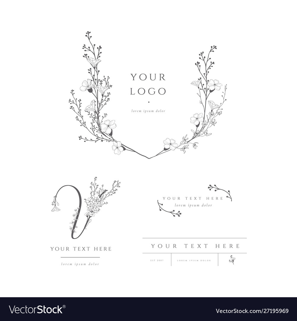 Pre-made logo branding kit floral monogram