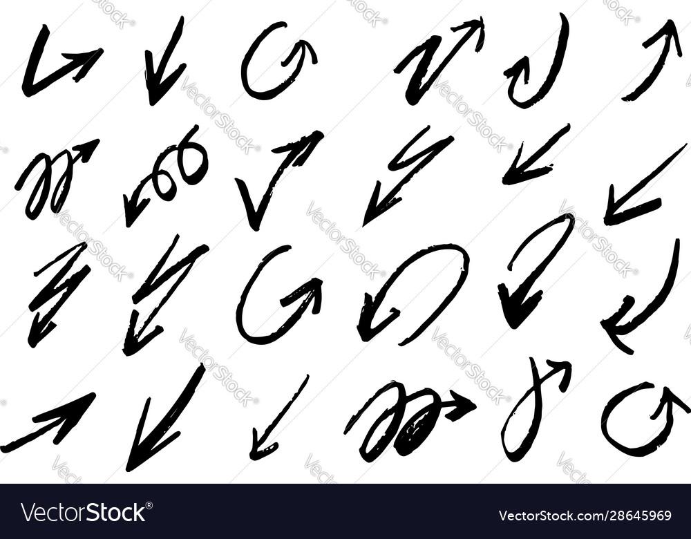 Set hand drawn grunge arrows and design