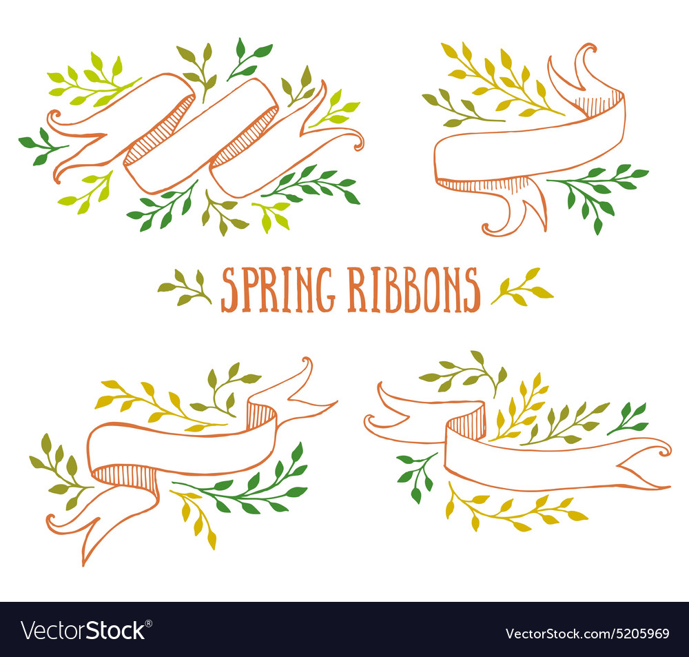 Set of color spring ribbons with leaves