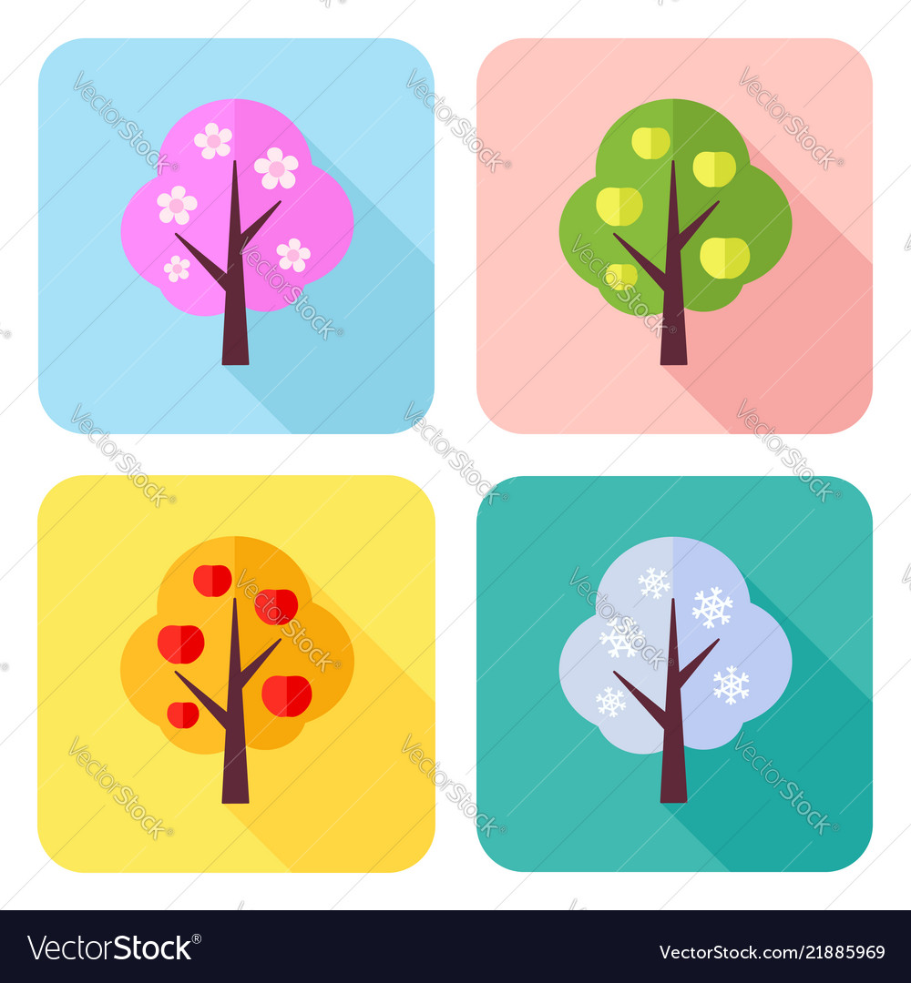Set of flat icons with four seasons trees