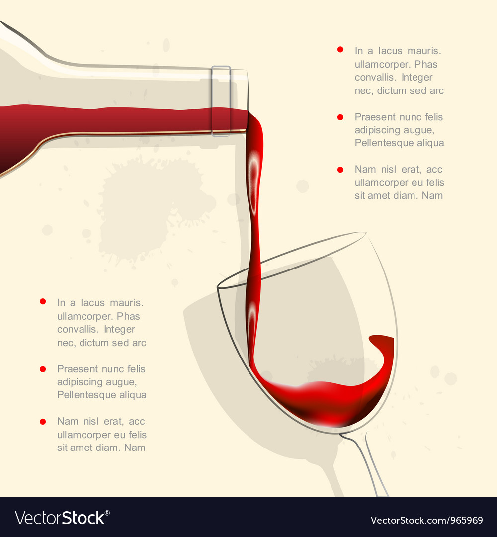 wine pouring into wine glass royalty free vector image