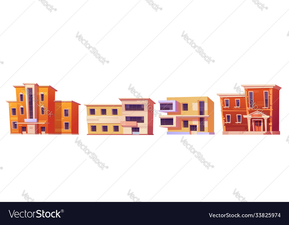 Cartoon set city buildings