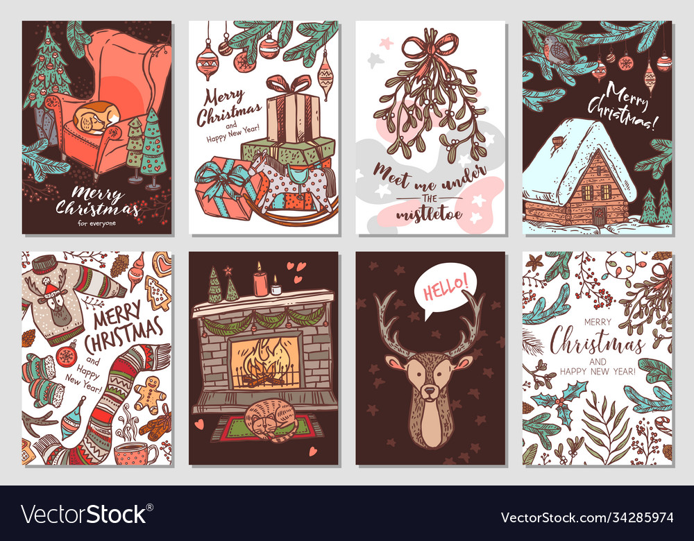 Collection christmas and new year cards