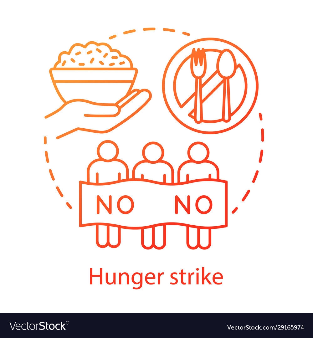 Hunger Strike Concept Icon Voluntary Food Refuse Vector Image