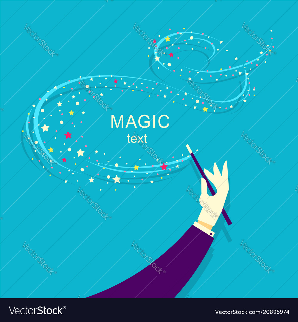 Magician hand and magic wand background