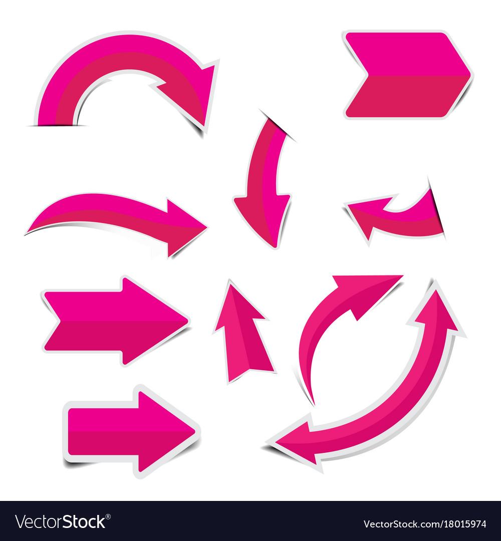 Pink arrow sticker on white background