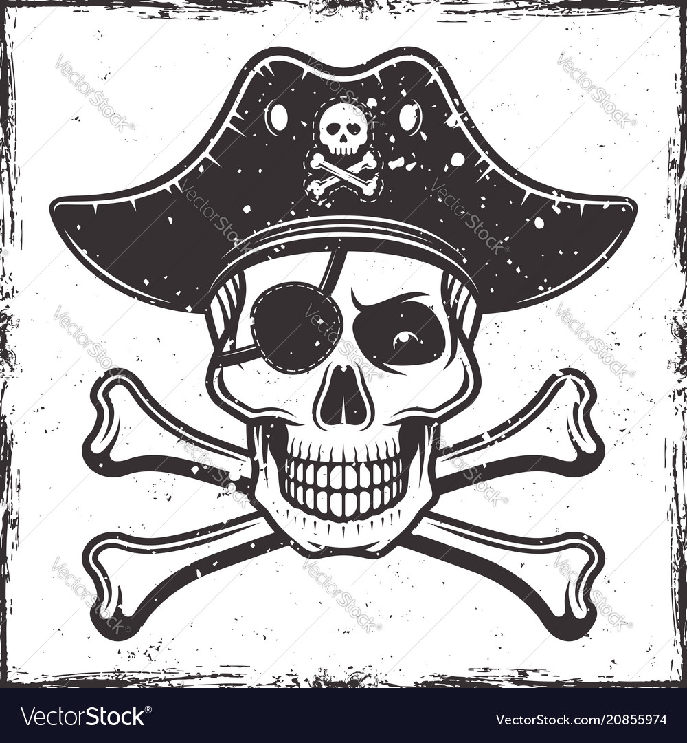 Pirate skull in hat and two crossed bones