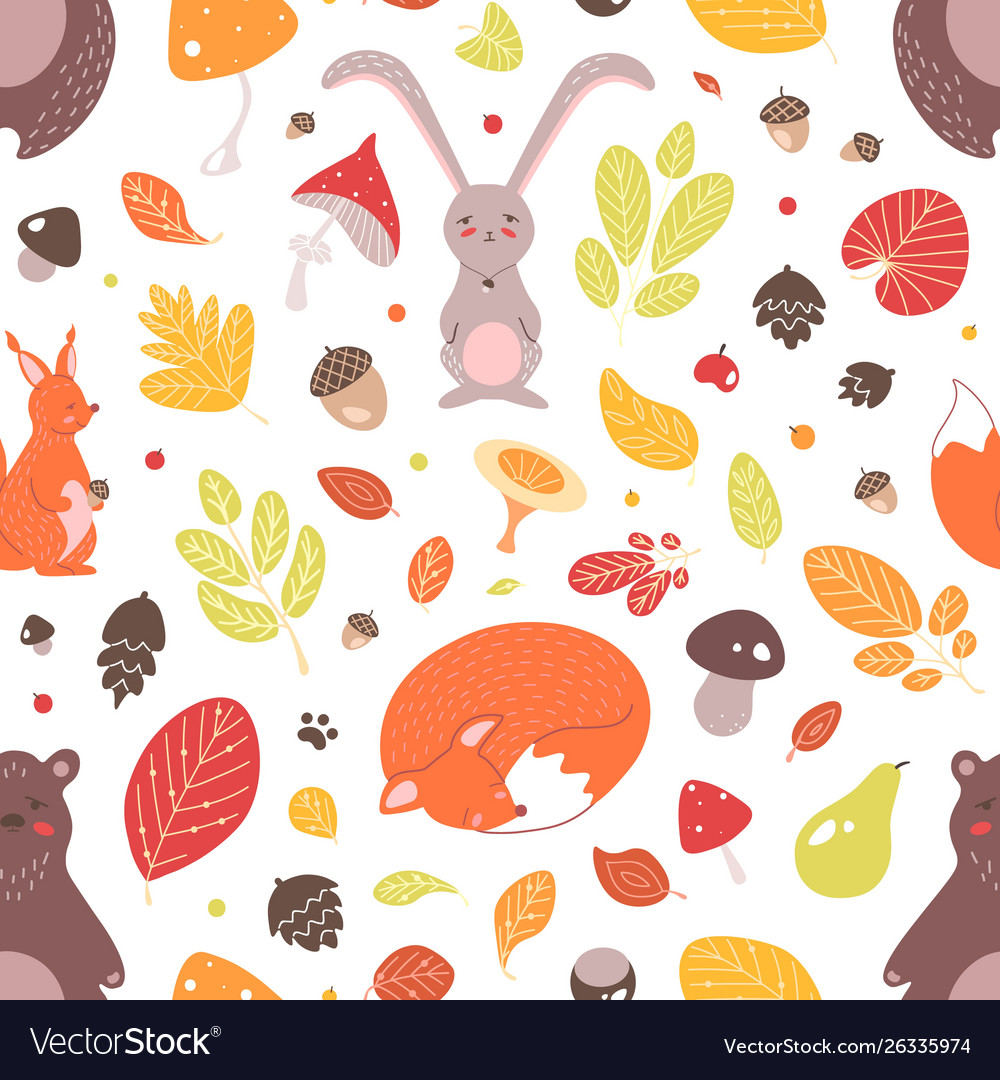 Seasonal seamless pattern with adorable wild