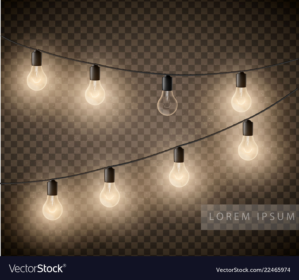 Set light bulbs garlands on transparent