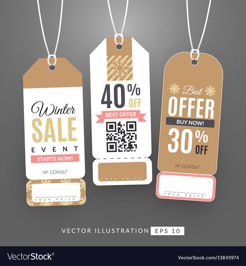 Set with sale labels winter sale event