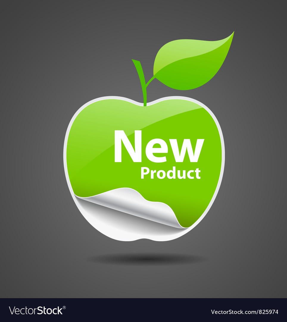 Sticker green apple price tag