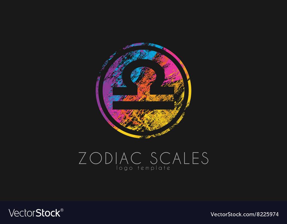 Zodiac scales logo Scales symbol design Creative vector image