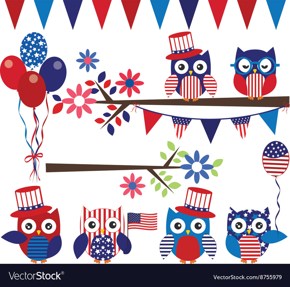 4th Of July Owl with Branch Collection