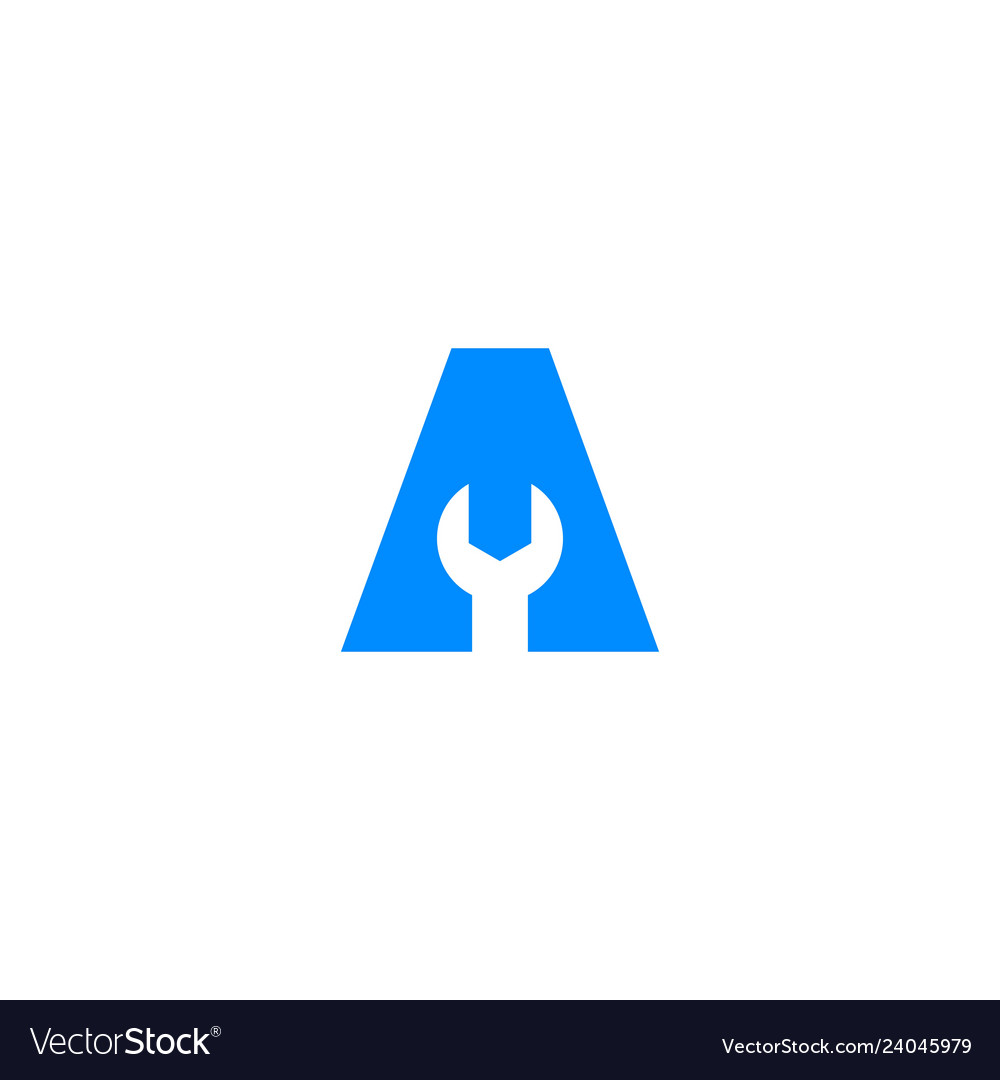 A letter wrench tool service logo icon