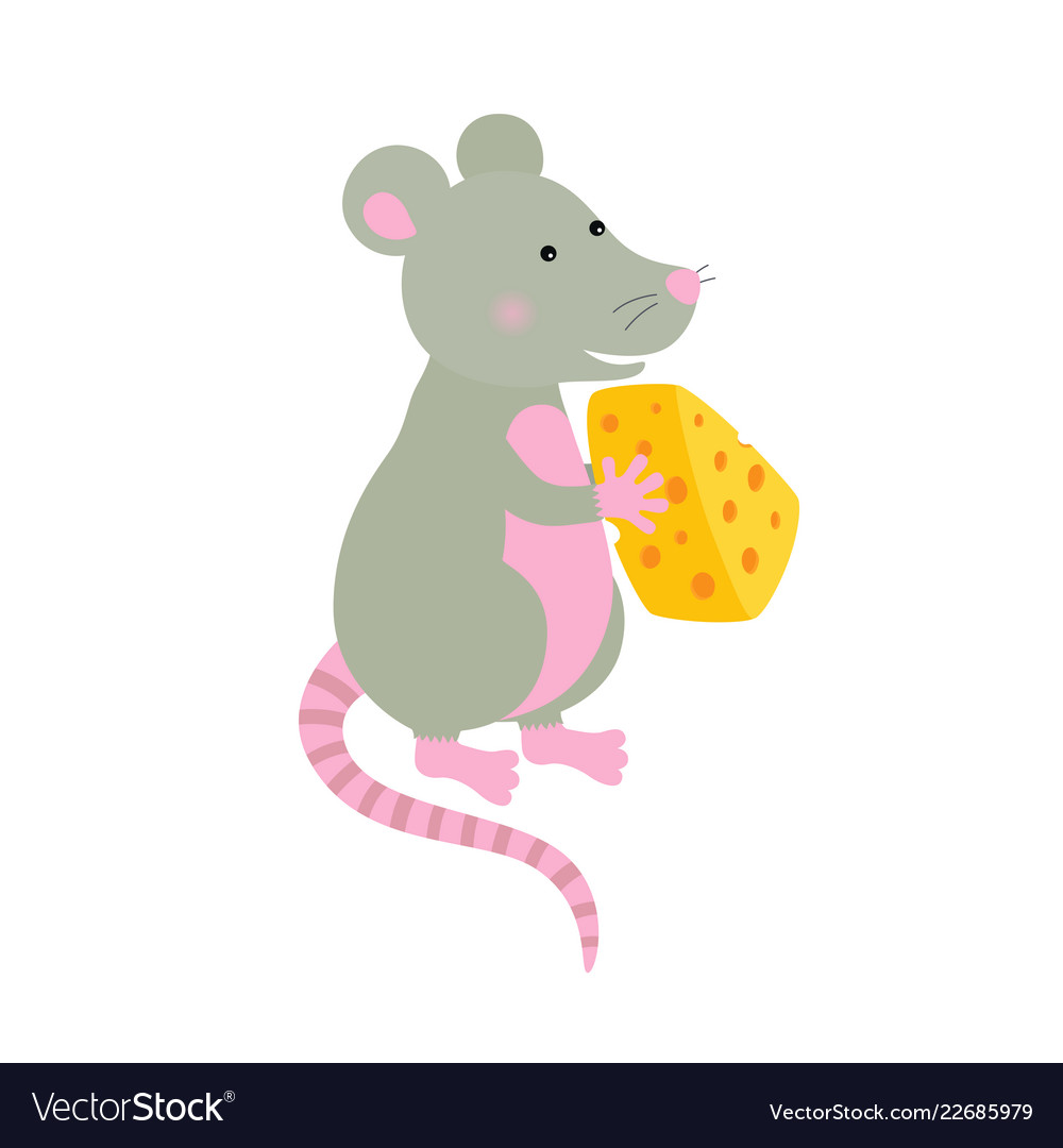 Cartoon hand-drawn character mouse with a piece of
