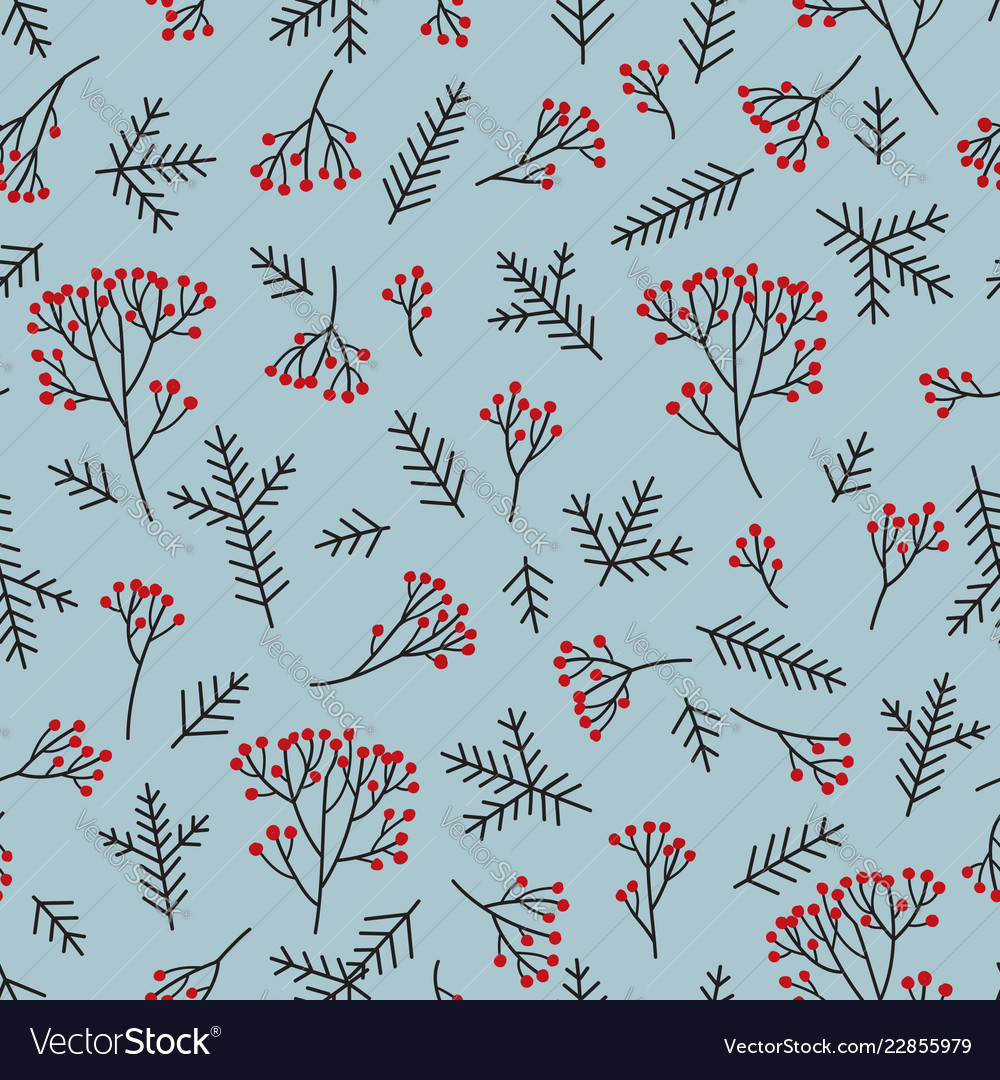 Christmas floral seamless pattern winter nature