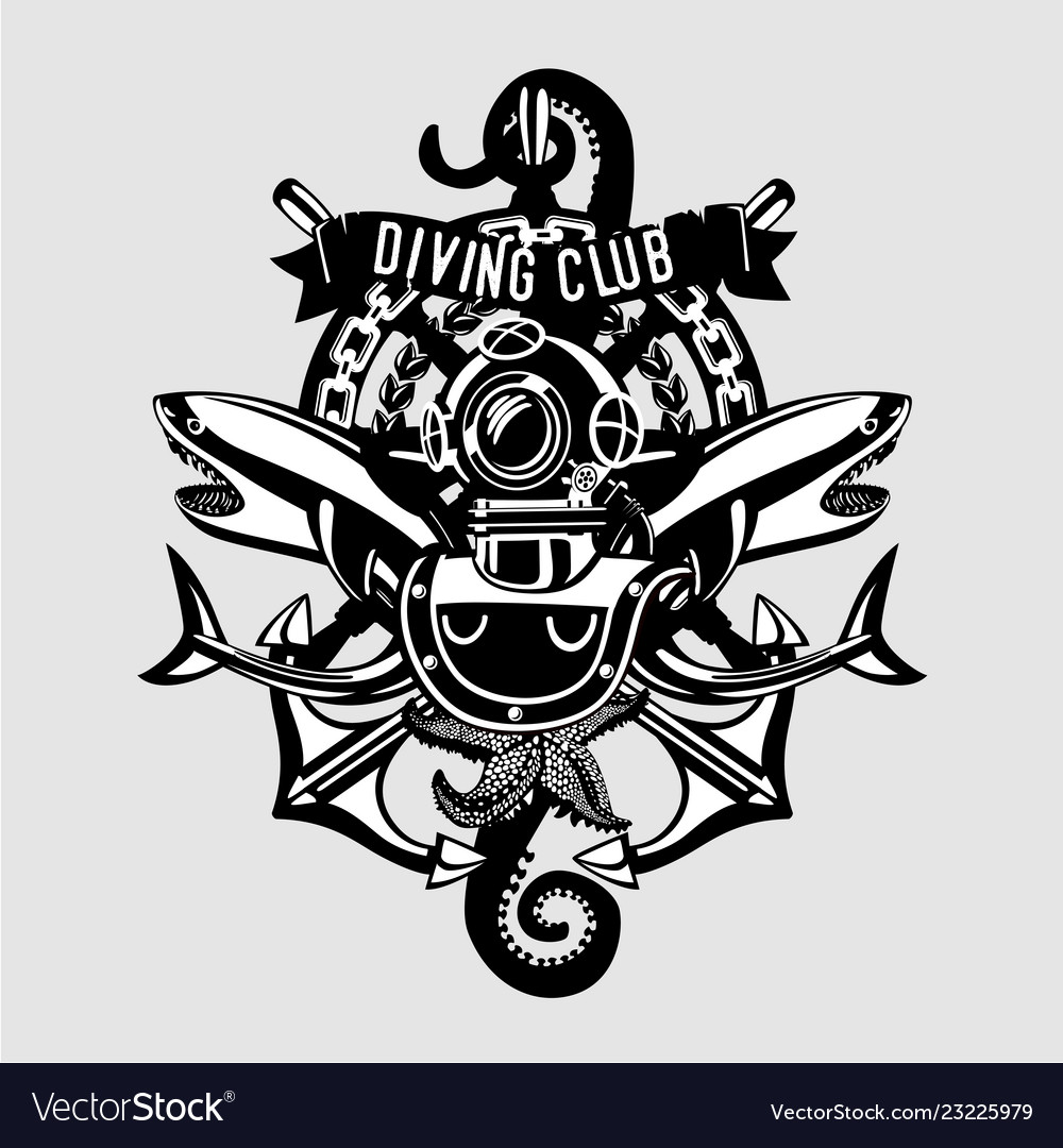 Diving club vintage emblem sign with retro