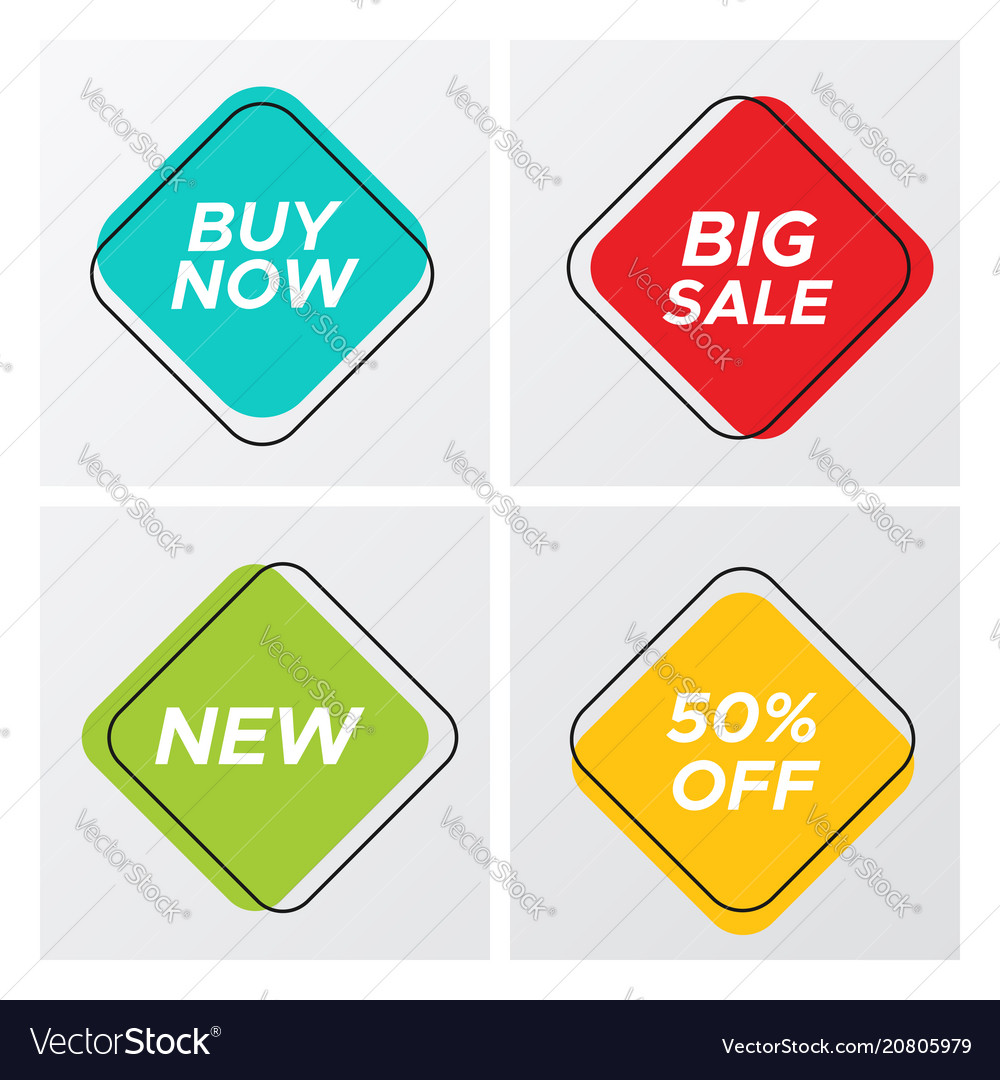 Four square retro style sale tags with deal offer