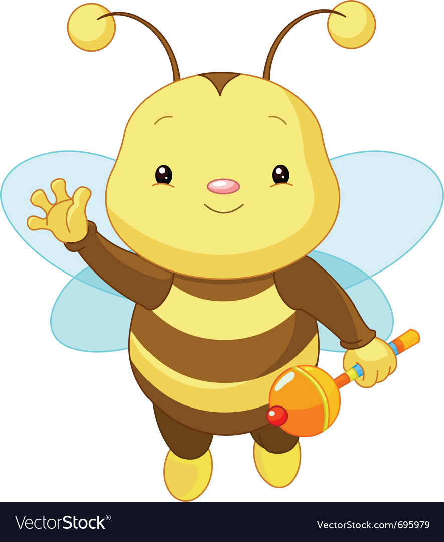 Friendly cute baby bee vector image